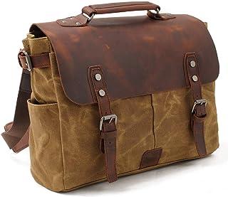 La bolsa de mensajero de los hombres Cuero Vintage lienzo bolsa de ordenador portatil impermeable bolso de lona encerada h...