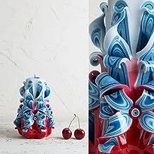 Candela Intagliata Con Decorazioni Blu e Rosso - Idee Regalo Patriottiche - Fatti A Mano da EveCandles