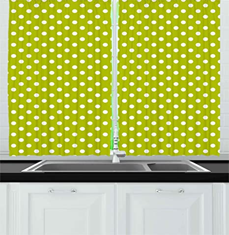 Amazon Com Ambesonne Retro Kitchen Curtains Vintage Old Fashioned 60s 70s Inspired Polka Dots Pop Art Style Print Window Drapes 2 Panel Set For Cafe Decor 55 X 39 Lime Green