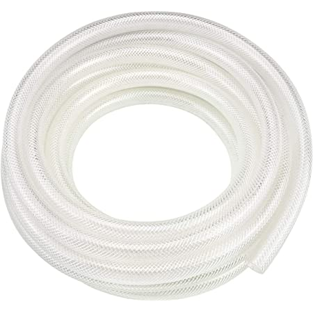 "1/2"" ID x 3/4"" OD - 10 Ft High Pressure Braided Clear PVC Vinyl Tubing Flexible Vinyl Tube, Heavy Duty Reinforced Vinyl Hose Tubing, BPA Free and Non Toxic"
