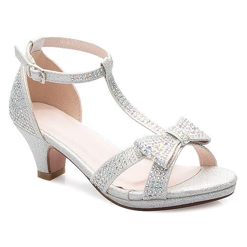 868817e5a44 OLIVIA K Girl s Glitter Leatherette Open Toe Strappy Ankle T Strap Kitten  Heel Sandal (Toddler
