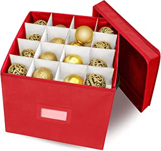 WBHome Christmas Ornament Storage Box with Removable lid, Stores up-to 64 Standard Holiday Ornaments & Xmas Decorations for Seasons to Come - 12 x 12 Inch 4 Layer Ornament Storage Container - Red