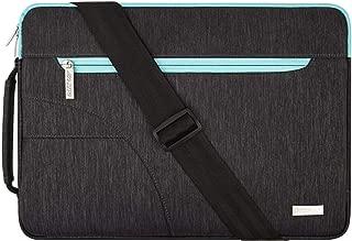 MOSISO Laptop Shoulder Bag Compatible 15-15.6 Inch MacBook Pro, Ultrabook Netbook Tablet, Polyester Ultraportable Protective Briefcase Carrying Handbag Sleeve Case Cover, Black & Hot Blue