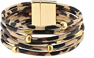 Wowanoo Leopard Bracelet Multilayer Leather Cuff Bracelet Boho Women's Metal Tube Bracelet