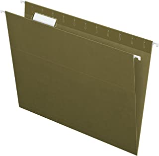 Pendaflex Hanging File Folders, Letter Size, Standard Green, 1/5-Cut Adjustable Tabs, 25 Per Box (81602)