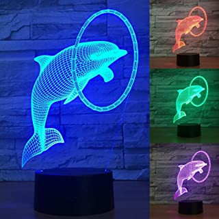 Jinnwell 3D Dolphin Night Light Animal Lamp Illusion Night Light 7 Color Changing Touch Switch Table Desk Decoration Lamps Perfect Christmas Gift with Acrylic Flat ABS Base USB Cable Toy