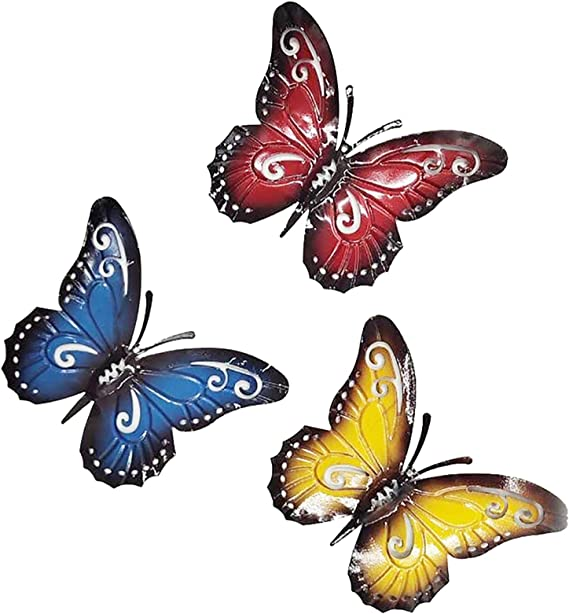 Chezmax Metal Butterfly Nature Inspired Red Yellow And Blue Butterflies Wall Metal Art Colorful Garden Sculpture Wall Hanging For Indoor And Outdoor Decoration Set Of 3 Everything Else Amazon Com