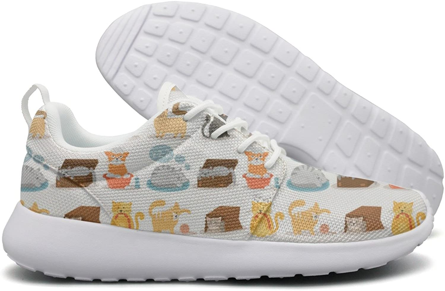 Hoohle Sports Cute Cartoon Cat Daily Activities Women Roshe One Flex Mesh Mens Casual shoes