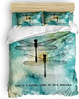 Home Bedding 4 Piece Set King Size Include Duvet Cover, Flat Sheet, Pillow Shams Quote Love is A Nature Angel on Your Shoulder Dragonfly Printed Printing Duvet Cover Set for Children/Adults/Teen