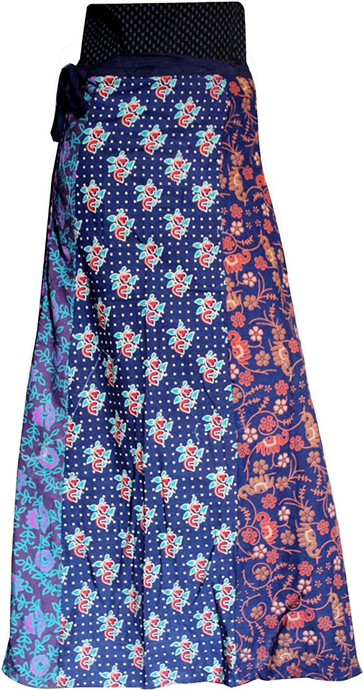 Lakkar Haveli Women's Patchwork Long Skirt Indian Style Party Wear Gypsy Casual Boho Beach Wear Multi Color
