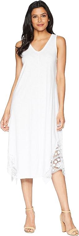 Heavier Slub Jersey Midi Tank Dress with Crochet Lace