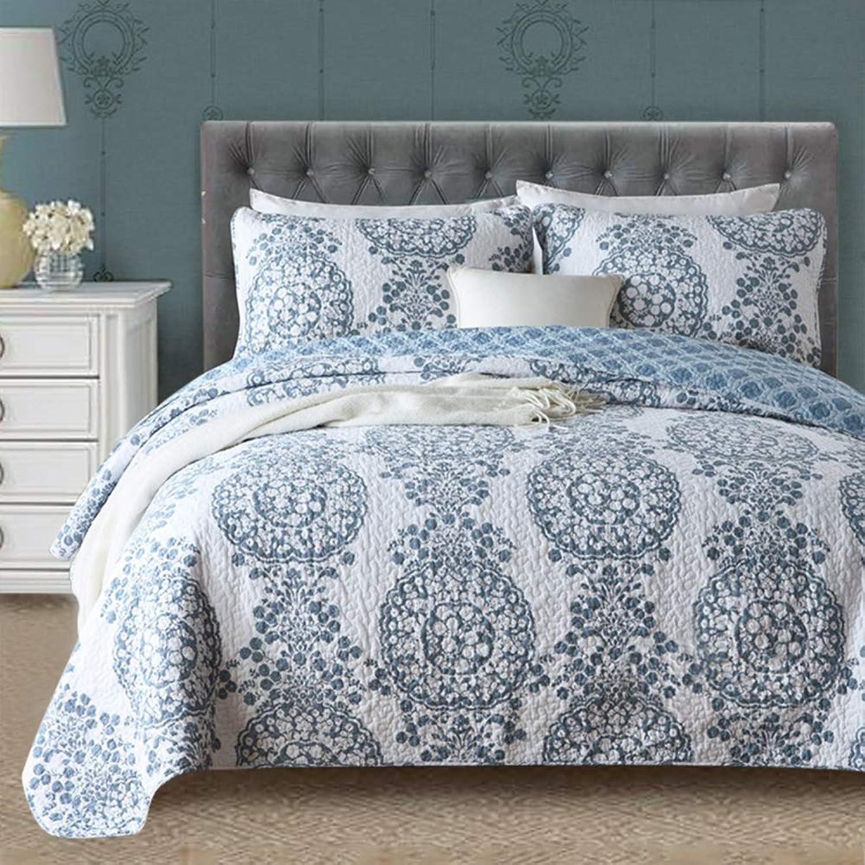 Gravan 3-Piece King Quilt Sets with Shams ?? Oversized Bedding Bedspread Coverlet Set ?? Elegant Floral Printed