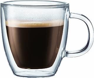 Bodum BISTRO Coffee Mug, Double-Wall Insulated Glass Espresso Mugs, Clear, 5 Ounces Each (Set of 2)