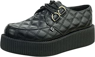 T.U.K. Shoes A8828 Unisex-Adult Creepers, Black Quilted Vegan Viva Mondo Creepers - US: Mens 5 / Womens 7