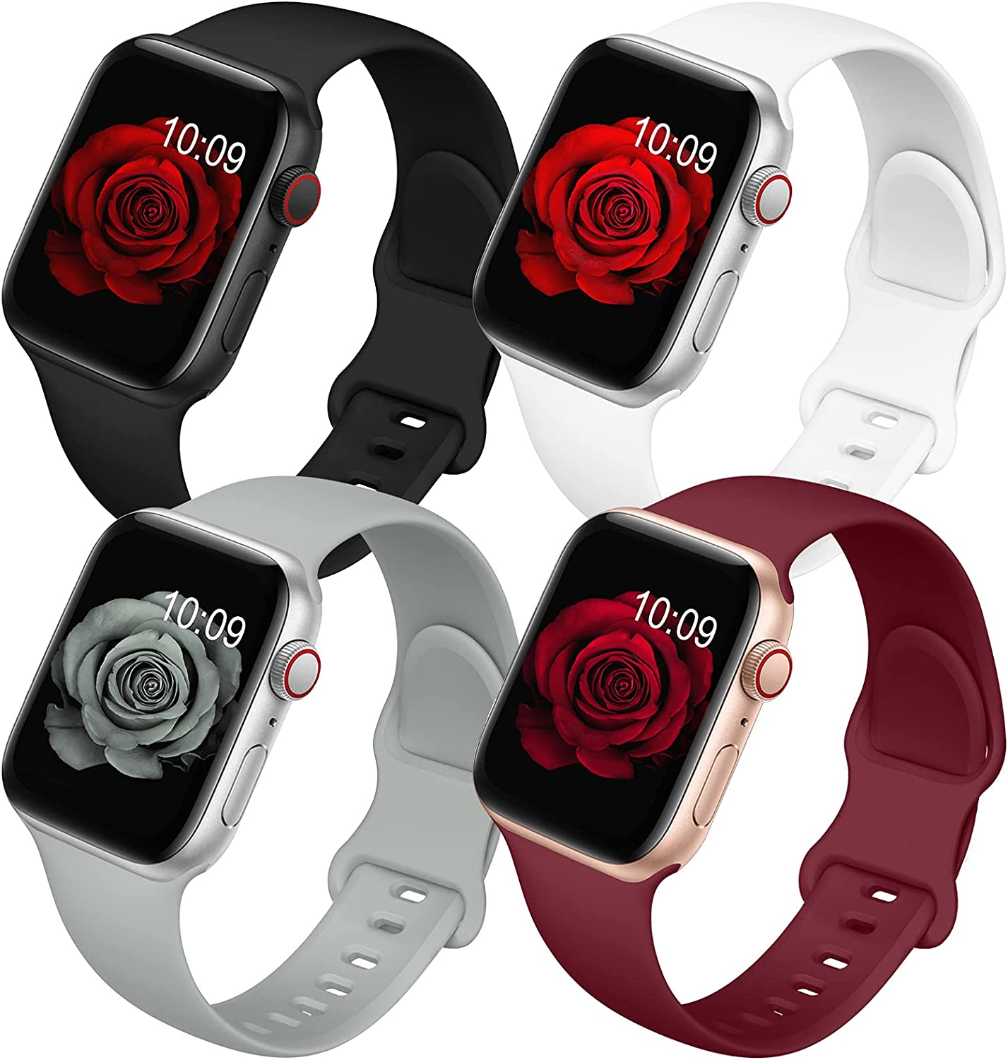 4 Pack Bands Compatible with Apple Watch Band 38mm 40mm 42mm 44mm for Women Men, Soft Silicone Sport Replacement Watch Strap for iwatch Series SE/ 6/5/4/3/2/1 Black/White/Wine Red/Gray