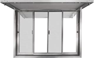 New Concession Stand Window with Awning Door for Food Trucks, Concession Trailers, and Concession Stands with 2 Center Horizontal Slide Windows (48