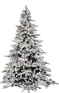 Vickerman Pre-Lit Flocked Utica Fir Tree with 250 Multicolored Italian LED Lights, 4.5-Feet, Flocked White on Green