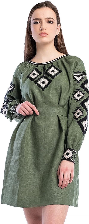 ETNODIM Woman Ukrainian Ethnic Embroidered Boho Dress Vyshyvanka Linen Green KneeLength Summer Dress Natural