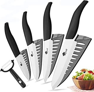 Couteaux en céramique Couteaux de cuisine 3 4 5 6 pouces Chef Couteau Cuisson Cuisson + Peeler Blanc Blanc Zirconia Poigné...