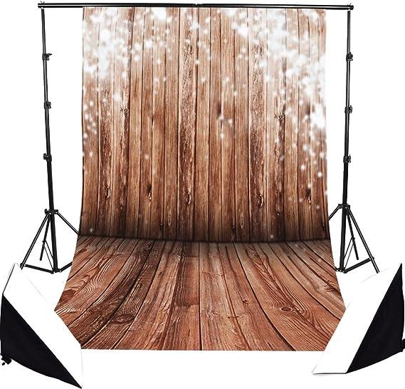 Focussexy 5X7ft Newborn Grey Wood Floor Vinyl Photography Backdrop Art Fabric Studio Background Photo Props Studio 1.5x2.1m