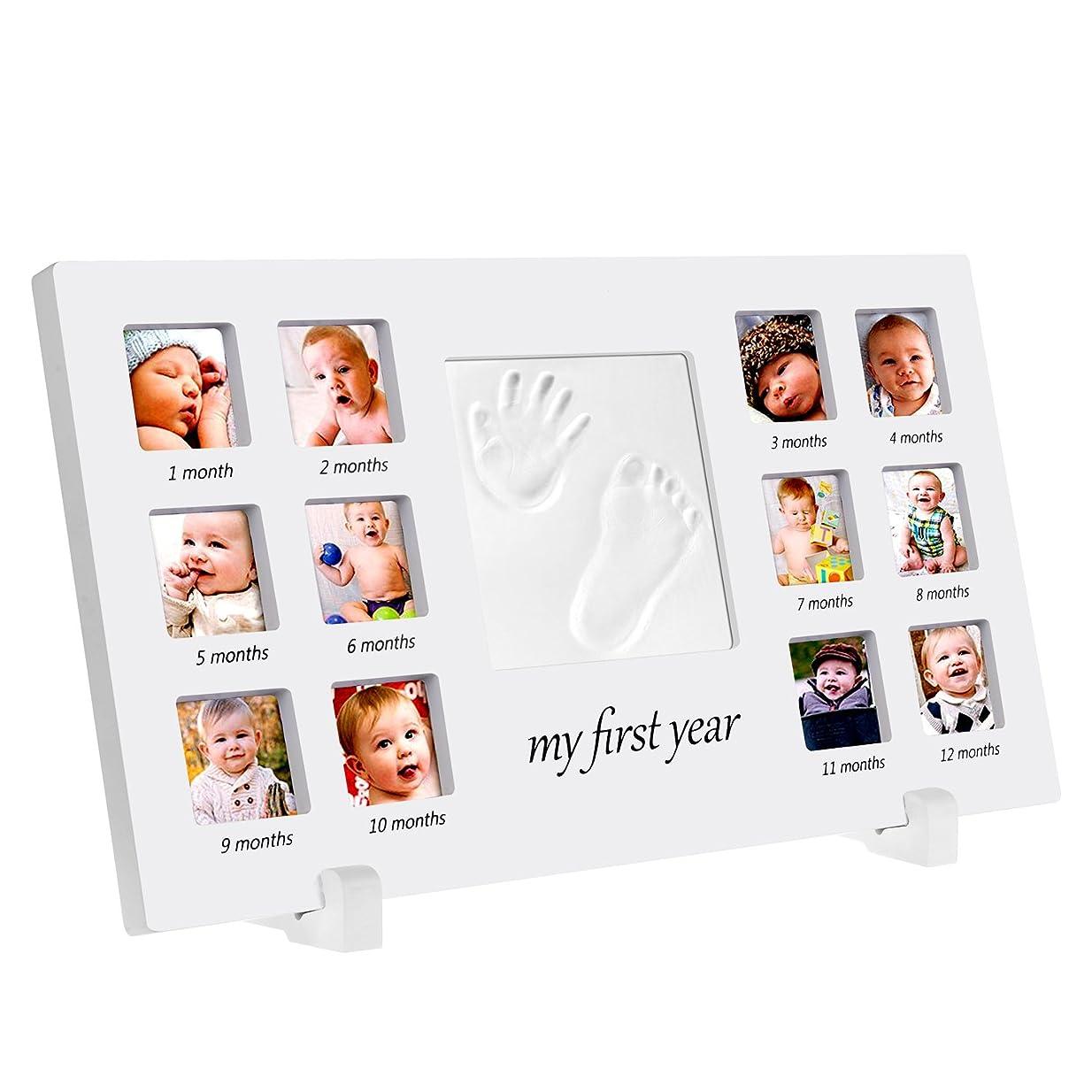六アルミニウムシミュレートするベビーフレーム PChero 可愛いベイビー用記念品 赤ちゃんの手形 足形フレーム 安全な非毒性粘土 良品質の木製フレーム 12面/13面写真立て 誕生から12か月の成長記録 卓上用/壁掛両用 出産祝い 完璧なベイビーギフト