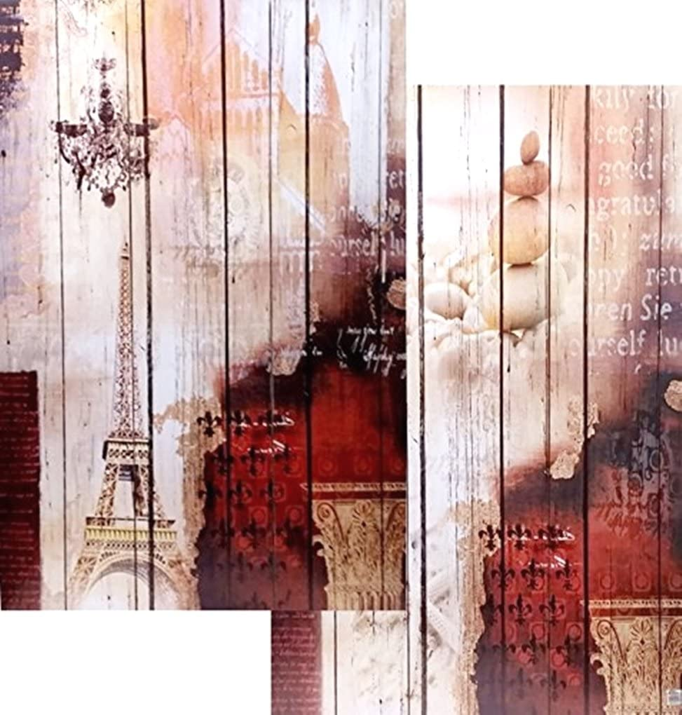 Bellaa 3-Panel Double Sided Painting Divider Screen Regular store Special Campaign Canvas Room