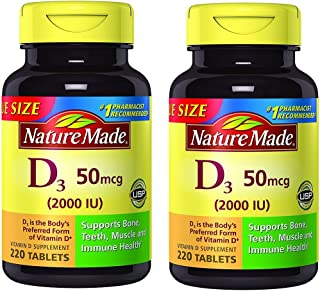 Nature Made Vitamin D3 2000 IU Tablets 220 Ct Value Size (Packaging may vary)