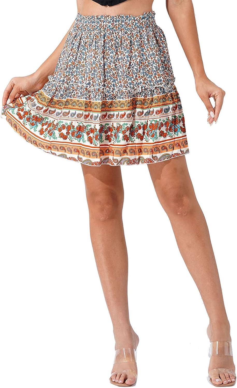 renvena Women Bohemian Flower Skirts Summer Layered Ruffle Skater Skirt Elastic Waist Summer Beach Skirts