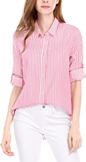 db237eb520a0 Allegra K Women's Vertical Stripes Button Down Long Roll up Sleeves Shirt