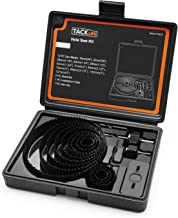 Hole Saw Kit, 16 Pieces 3/4''-5'' Full Set in Case with Mandrels, Hex Key and Install Plate for Wood, PVC Board,Drywall and Plastic Plate Drilling, Hardened High Carbon Steel -Tacklife PHS01C