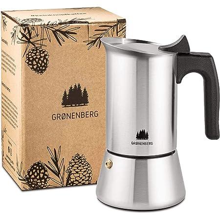 Groenenberg Cafetera Italiana inducción, 6 Tazas (300 ml) | Cafetera Moka de acero inoxidable (inox) | Cafetera Espresso manual con junta de repuesto e instrucciones | Espresso Maker sin Aluminio