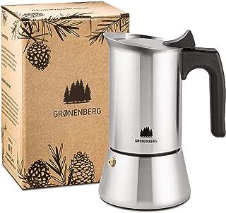 Groenenberg Cafetera Italiana inducción, 6 Tazas (300 ml) | Cafetera Moka de acero inoxidable (inox) | Cafetera Espresso m...