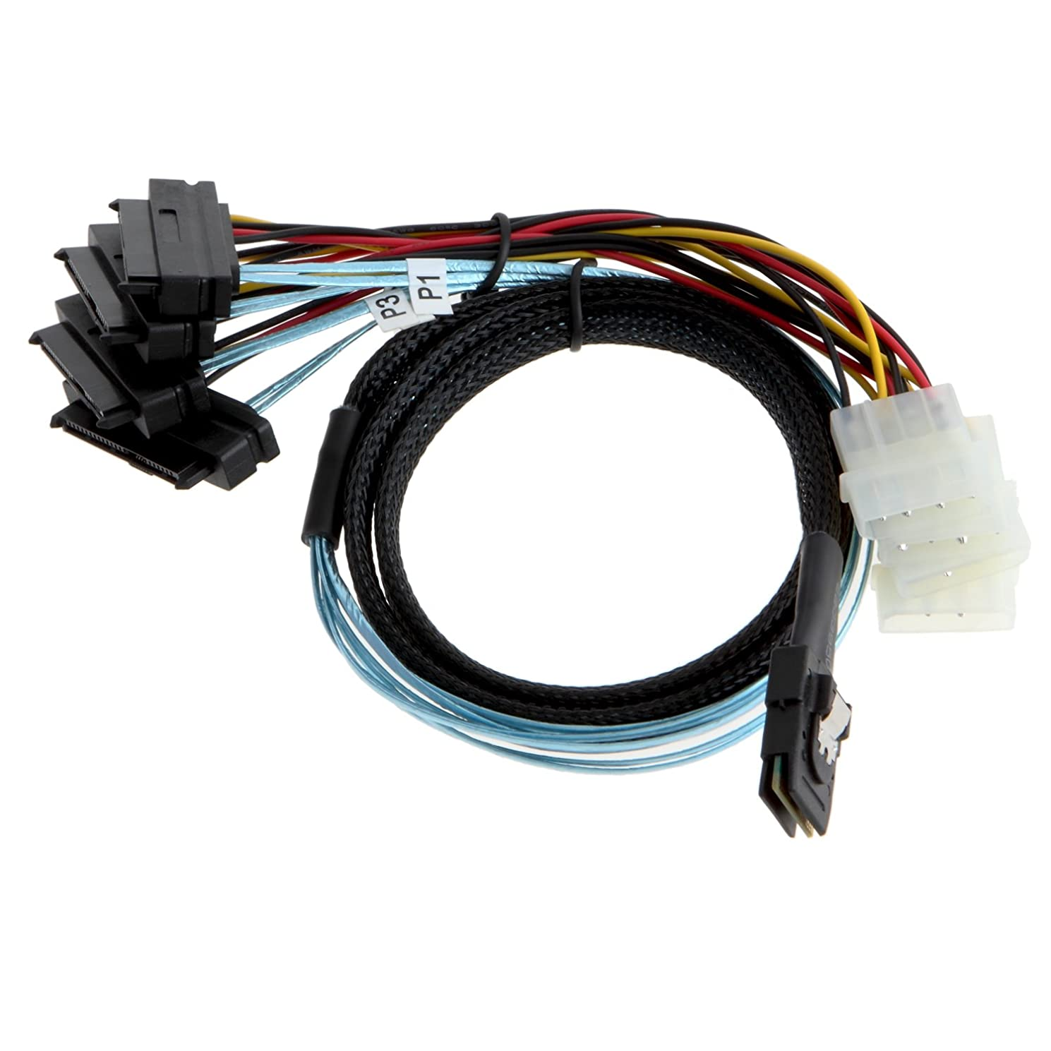 CableCreation Mini SAS 36Pin (SFF-8087) Male to 4x SAS 29 (SFF-8482) female with 4pin Power Cable, Mini SAS Host to 4 SAS Target Cable, 3.3FT