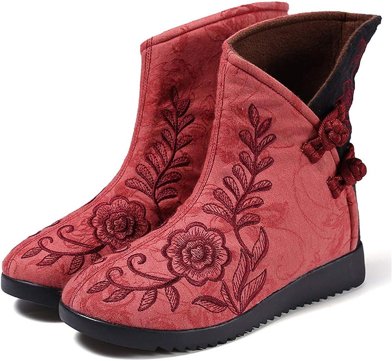 Women Dress shoes Retro Female Cotton Cloth shoes Fashion Ankle Boots Winter Warm Snow Boots (color   A, Size   35)