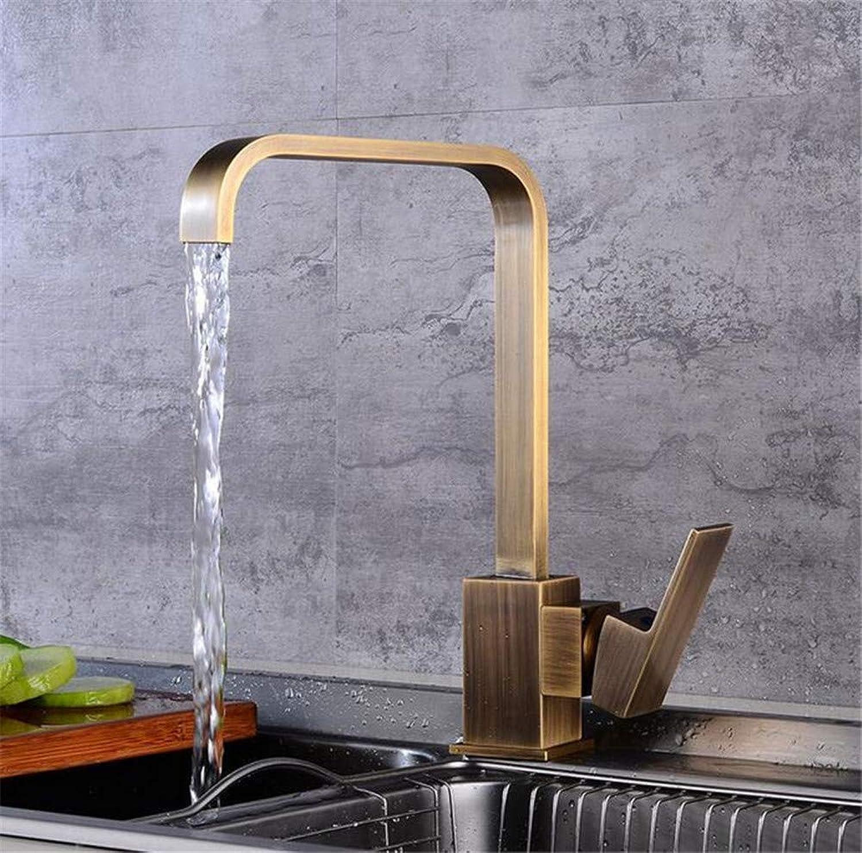 Wasserhahn Küche Waschbecken Badezimmer Küchenarmatur, 360 Grad Antike Messing Küchenarmatur Kaltes Warmwasser