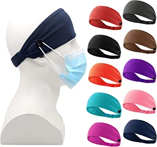 Ehfswrr Headbands with Buttons,Nurses Headband for Women and Men Yoga Sports Workout Turban Heawrap for Everyone and Doctors,Protect Your Ears,10 Pack Set