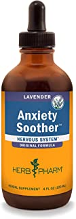 Herb Pharm Anxiety Soother Liquid Herbal Formula with Kava For Nervous System Support - 4 Ounce, Lavender