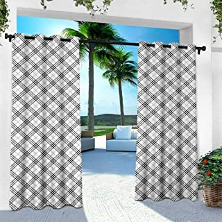 Hengshu Plaid, Outdoor Patio Curtains Waterproof with Grommets,Monochromatic Diagonal Pattern with Checks and Stripes Dashed Lines Celtic Classic, W96 x L108 Inch, Black White