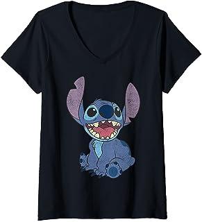Femme Disney Lilo & Stitch Sitting Stitch Portrait T-Shirt avec Col en V