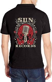 Sun Records Electric Mic Music 半袖ポロシャツ シャツ メンズ Polo Shirts 後ろプリント 速乾性 柔らかい 通気性 半袖 ラペル ブラックカジュアル