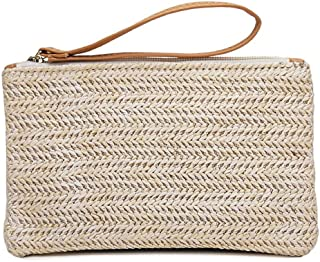 Straw Clutch Handbag Women Straw Purse Envelope Bag Wallet Summer Beach Bag