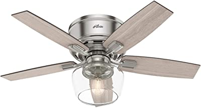 """Hunter Bennett Low Profile Indoor Ceiling Fan with LED Light and Remote Control, 44"""", Brushed Nickel"""