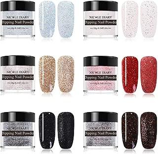 NICOLE DIARY Dipping Nail Powder Kit 10g Dip Nails Shining Glitter Dipping System Nail Art Decoration(6 Colors/set)