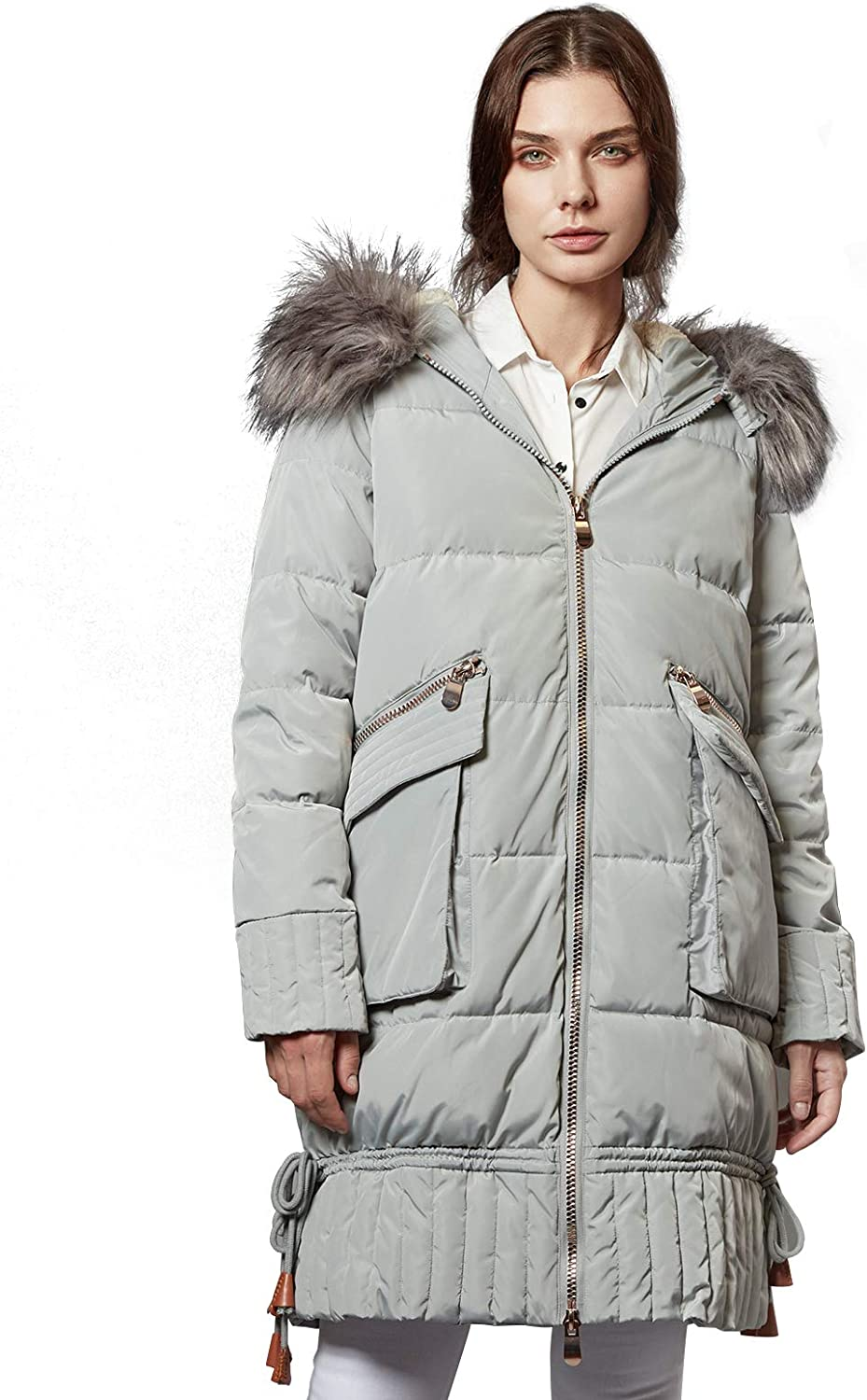 Escalier Women Windproof Padded Puffer Coat Winter Thickened Long Parkas Jacket with Fur Trimmed Hood