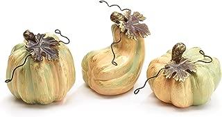 Burton & Burton Varigated Pumpkin Sage Green 3 x 3 Porcelain Ceramic Harvest Figurines Set of 3