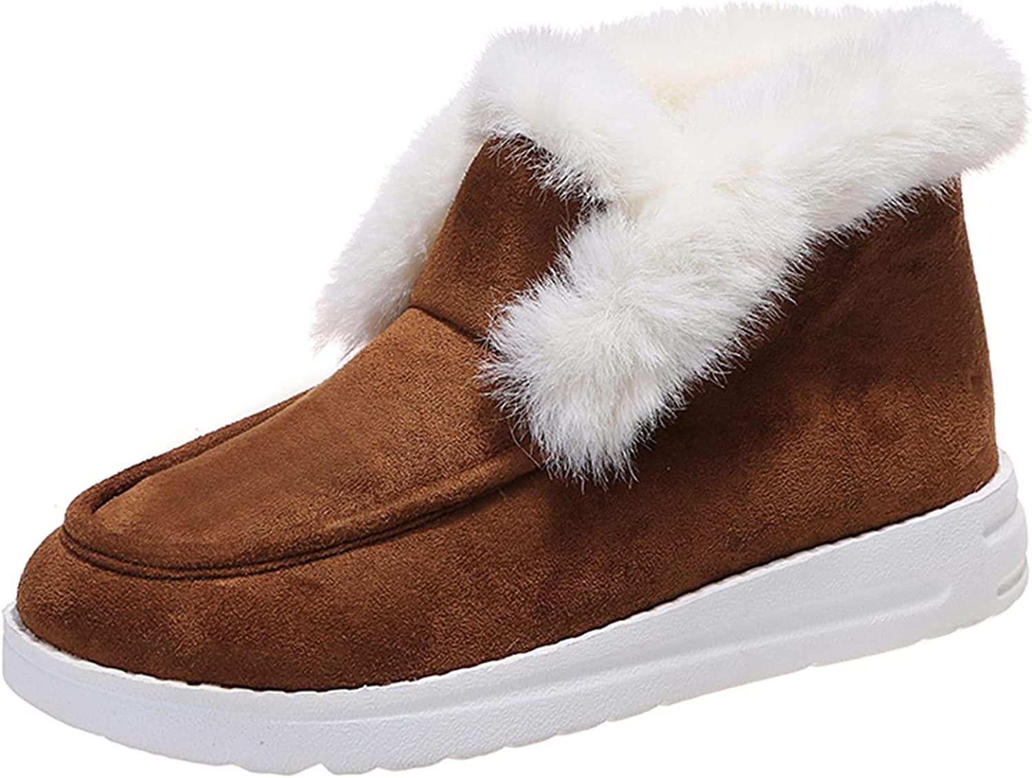 Flat Boots Cute Warm Winter Durable Shoes Casual Fashion Fur Lining Ankle Snow Boots Loafer Flats Platform Thick Plush Shoes for Women