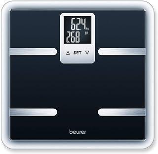 Beurer BG40 - Báscula de baño diagnóstica de vidrio, pantalla LCD en 2 líneas, color negro