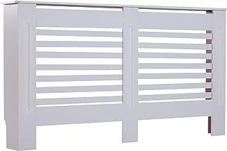 HOMCOM MDF White Painted Radiator Cover Wooden Cabinet Shelving Display Horizontal Slats Modern Style 152Lx 19W x 81H cm