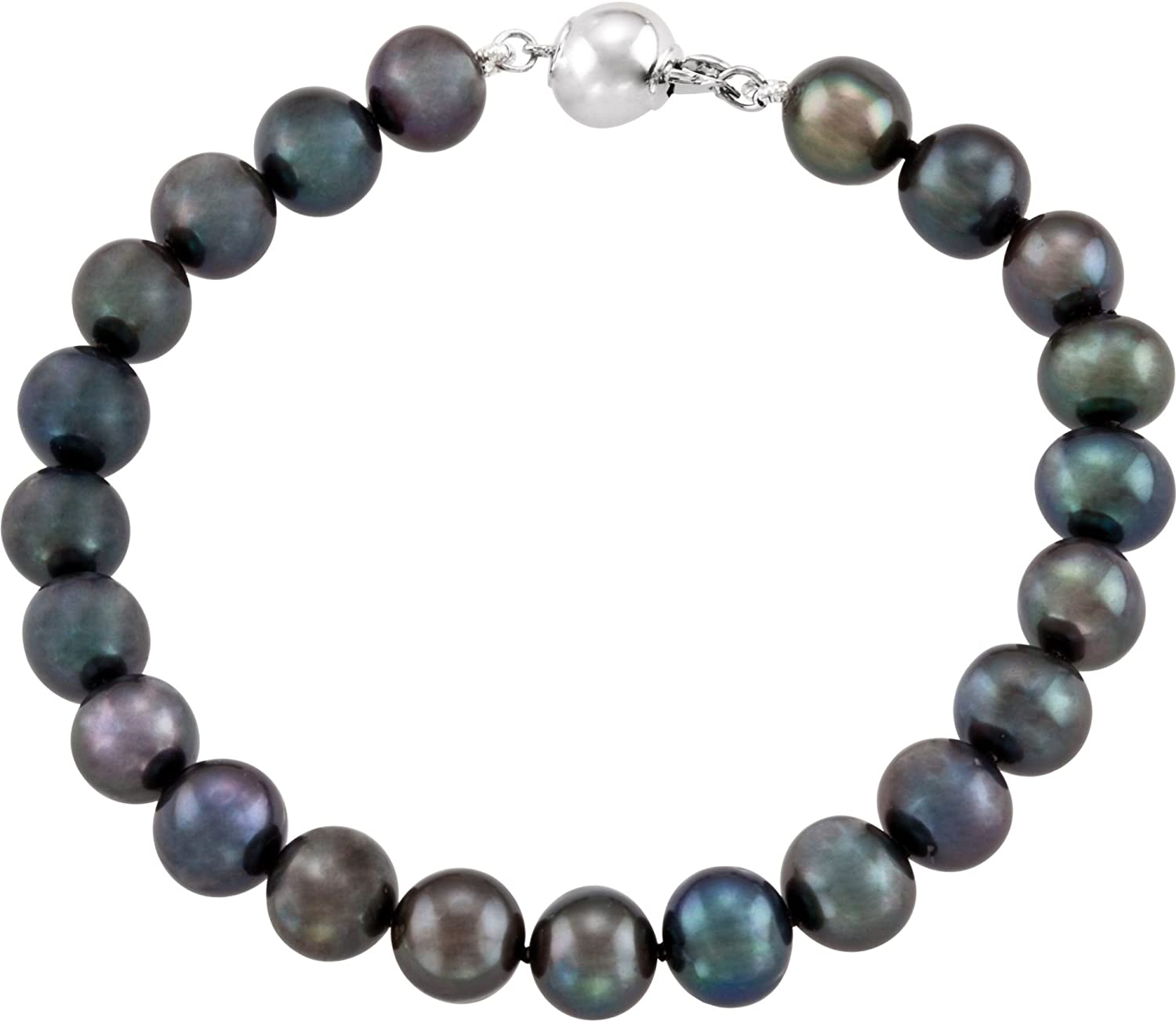 Freshwater Cultured Black Pearl Strand in Sterling Silver