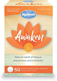Jet Lag Homeopathic Relief Remedy Tablets by Hyland's Awaken, Quick Dissolving Natural Relief of Fatigue, Drowsiness, and ...